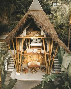 Bamboo House Bali, Bamboo House Design, Bali House, Hut House, Bahay Kubo, Jungle House, Bamboo Architecture, Architecture Design, Bamboo Structure