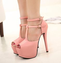 New arrivals 2014 t strap high heels pumps women sexy shoes black pink