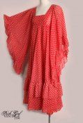 1960's Red Bohemian Rich Hippie Style Maxi Dress - M