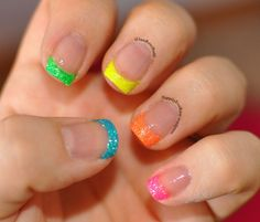 Rainbow Neon Nail French Tips Art Using Micro Glitter Dust On The