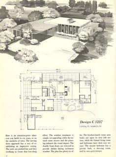 Vintage House Планы, 1960 домов, дома середине века
