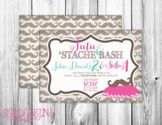 LOVE!!!!!!!!! Tutu and Stache Bash Birthday Party Invitation by FiGiDesigns, $15.00 - cute idea for boy/girl twins or siblings who share a bday