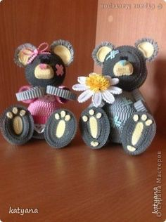 Boy and Girl Teddy Bears - Quilled by: Ru Artist