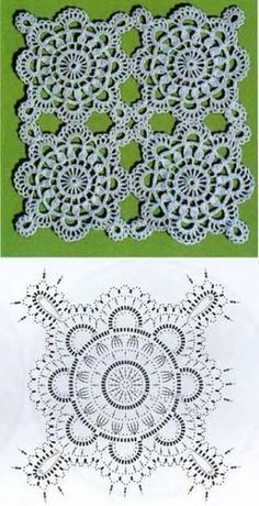 Crochet world: motif 198 – Knitting – Crochet Crochet Motif Patterns, Crochet Headband Pattern, Crochet Squares, Crochet Granny, Crochet Stitches, Crochet Designs, Granny Squares, Crochet Tablecloth, Crochet Doilies