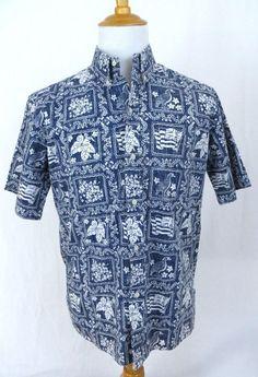 Reyn Spooner Shirt Large Hawaiian Traditions State Flag Nene Blue Reverse Print #ReynSpooner #Hawaiian