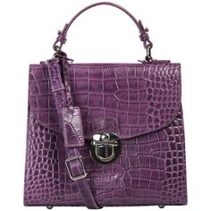 OSPREY LONDON The Maudie Polished Croc Leather Cross Body Bag - Purple ($380) found on Polyvore