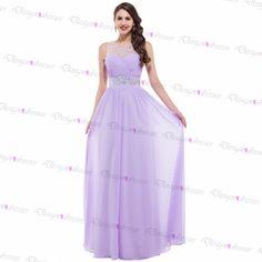 Light Purple Chiffon Sleeveless Beading Long Prom Dress 2016 For Party on Luulla