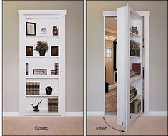 Murphy Door Hardware Kit Flush-Mount Murphy Door Hardware Kit - Hardware For bedroom door at bottom of master stairs.Flush-Mount Murphy Door Hardware Kit - Hardware For bedroom door at bottom of master stairs. Hidden Spaces, Hidden Rooms, Home Door Design, House Design, Porta Diy, Murphy Door, Bookcase Door, Secret Door Bookshelf, Bookshelf Wall
