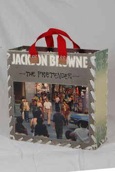 Jackson Browne - The Pretenders  A vintage record album cover that is upcycled for use as a gift box, decorative storage container or a handy tote with a hint of nostalgia