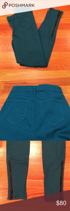 J Brand Teal jeans w/ zippers Teal color. Zippers up the ankles. Skinny. Size 26 J Brand Jeans Skinny