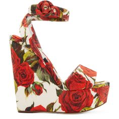 Dolce And Gabbana Red and White Rose Print Wedge Sandals ($345) ❤ liked on Polyvore featuring shoes, sandals, heels, wedges, ankle tie wedge sandals, wedges shoes, wedge sandals, braided sandals and ankle strap shoes