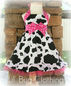 cow print dress with pink polka dot lining; girls
