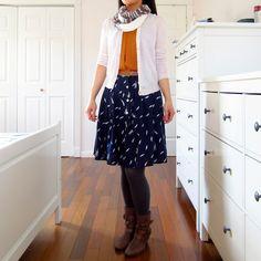 cardigan over skirt