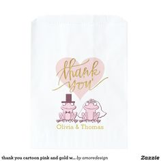thank you cartoon pink and gold wedding frogs