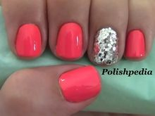 Coral with silver sparkle nails