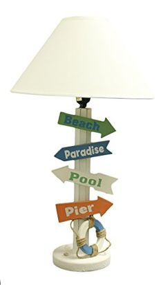 Beach/ Nautical Decor- Wooden Directional Signs 24 Inch Tall Table Lamp - Get it at Beachfront Decor