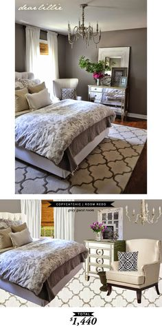 An elegant gray guest bedroom designed by @dearlillie and recrated by @lindseyboyer for $1440