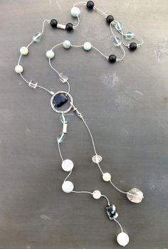 Long Aqua and Black Lariat by kerenbydesign on Etsy, $75.00