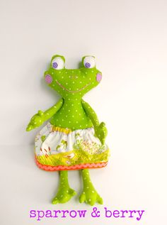 Frog doll, Green frog girl, Stuffed animal frog, Fabric frog, Rag doll frog, Plush frog, Cloth frog doll, Frog softie, Jointed arm frog toy by sparrowandberry on Etsy