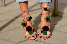 Zara Pom Pom sandal heels