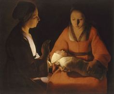 Le Nouveau-né Georges de La Tour (1593-1652) Le Nouveau-né a été attribué à Georges de La Tour en 1915 et a permis la redécouverte du peintre, après deux cent cinquante ans d'oubli. Ce tableau est considéré comme un chef-d'œuvre de sa maturité.