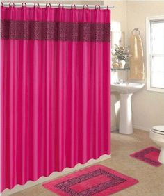 Hot Pink Leopard Bathroom Set