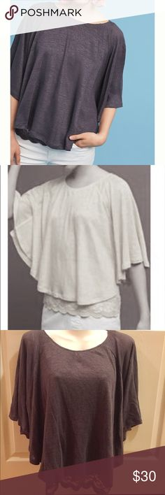 """Anthropologie Akemi + Kin Lace & Linen cape top Size: M. 23.25"""" long. Cape silhouette. Stretch lace lining, peeps out at bottom. Pullover. Linen/nylon/spandex. Machine wash. BNWT. No damage. Anthropologie Tops Tees - Short Sleeve"""