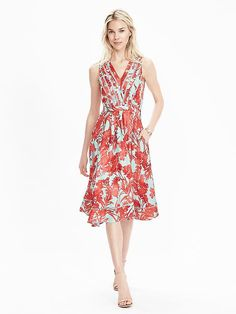 Love this dress from Banana!  great colors, cut, and nice work appropriate length on tall frames.