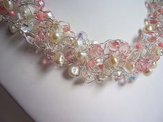 Pearl wire crochet wedding necklace, bridal jewelry, wedding necklace, wire crochet jewelry on Etsy, $125.00