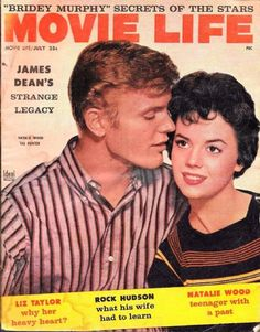 """The magazine """"Natalie Wood - Movie Life Magazine Cover [United States] (July has been viewed 16 times. Life Magazine, Wood Magazine, Movie Magazine, Natalie Wood, Tab Hunter, List Of Magazines, Magazin Covers, Moving On In Life, Kim Novak"""