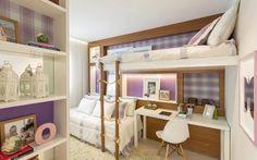 Lilás é a cor preferida da dona do quarto, mas a arquiteta Débora Dalanezi…