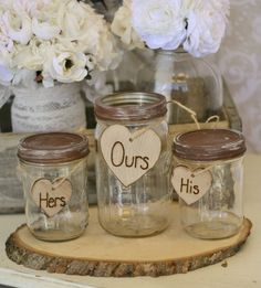 Mason jars for the unity sand cermemony... Don't normally like unity sands but this one is cute!