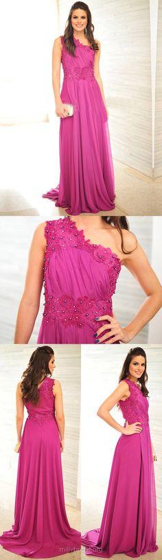 Purple Prom Dresses Long, A-line Formal Dresses One Shoulder, Chiffon Party Dresses Lace Elegant, 2018 Evening Gowns Cheap