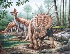 """Styracosaurus and Lambeosaurus"" © Phil Wilson - watercolor using airbrush"