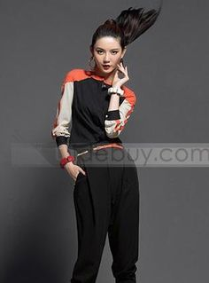 96d501eed014c Stylish Korean Style Split Joint Long Sleeve T-Shirt   Tidebuy.com Multi  Coloured