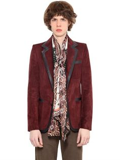 ROBERTO CAVALLI Smooth Leather Trimmed Suede Jacket, Dark Red. #robertocavalli #cloth #jackets