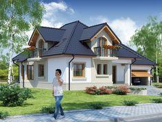 DOM.PL™ - Projekt domu DA Dandys 1 G2 CE - DOM DS2-30 - gotowy koszt budowy House Front Design, Modern House Design, Modern House Plans, House Floor Plans, Small Loft Apartments, Dormer Bungalow, Cottage Style Homes, Home Fashion, Exterior Design