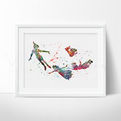 Peter Pan 2 Watercolor Art - VIVIDEDITIONS