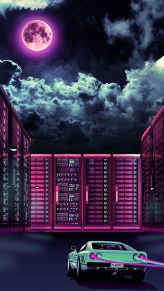 37 Ideas Wallpaper Iphone Retro Illustration For 2019 Cyberpunk Aesthetic, Neon Aesthetic, Cyberpunk Art, Wallpaper City, Retro Wallpaper, Mobile Wallpaper, Retro Kunst, Retro Art, Night Clouds