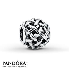 This sterling silver charm from the Fall 2012 Moments collection by Pandora features a woven texture. Style # 790973.