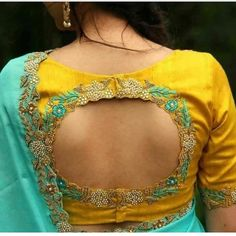 Yellow Embroidered Blouse Designs For Auspicious Occasions Yellow Embroidery Saree Blouse Designs Pattu Saree Blouse Designs, Stylish Blouse Design, Blouse Back Neck Designs, Fancy Blouse Designs, Bridal Blouse Designs, Pattern Blouses For Sarees, Latest Saree Blouse Designs, Hand Work Blouse Design, Sari Design