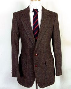 euc Surrey Brown Striped Herringbone 100% Wool Tweed Blazer Sportcoat 40 L #Surrey #TwoButton