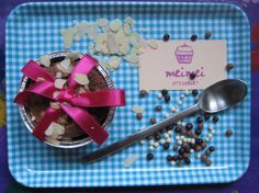 moelleux au chocolat with almonds and pink ribbon )