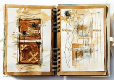 thought: create art pages outside journal then tack down individually within kraft spiral. instant page mats and no bleed/warp from wet mediums