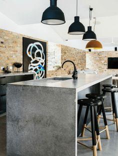 Concrete Interiors, Concrete Furniture, Kitchen Furniture, Modular Furniture, Luxury Furniture, Industrial Kitchen Design, Interior Design Kitchen, Polished Concrete Kitchen, Concrete Kitchen Countertops