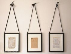 Framed handwritten recipes to hang in the kitchen.