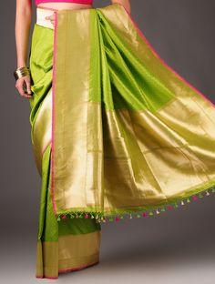 Lime Green-Fuschia Banarasi Silk / Ekaya
