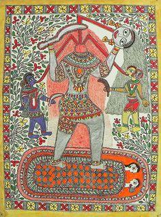 Chhinnamasta Kali (Madhubani Folk Art on Paper - Unframed))