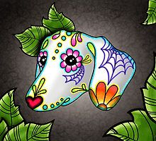 Day of the Dead Dachshund Sugar Skull Dog by prettyinink