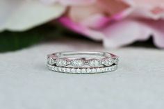 Art Deco Wedding Band and Half Eternity Band, Thin Stacking Ring Set, 1.5mm Engagement Ring, Man Made Diamond Simulants, Sterling Silver by TigerGemstones on Etsy https://www.etsy.com/listing/266371981/art-deco-wedding-band-and-half-eternity